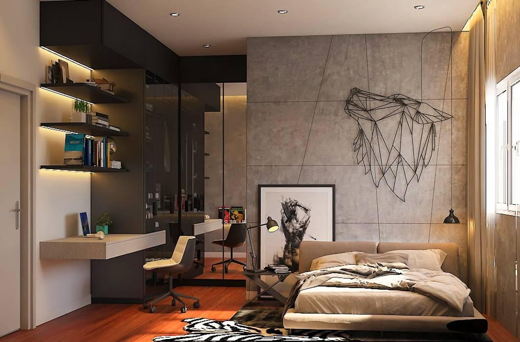 Pavilion Hilltop, Mont Kiara Rustic style bedroom by Norm designhaus Rustic