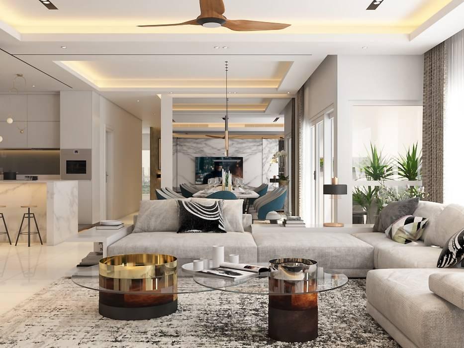 Pavilion Hilltop, Mont Kiara:  Living room by Norm designhaus, Modern