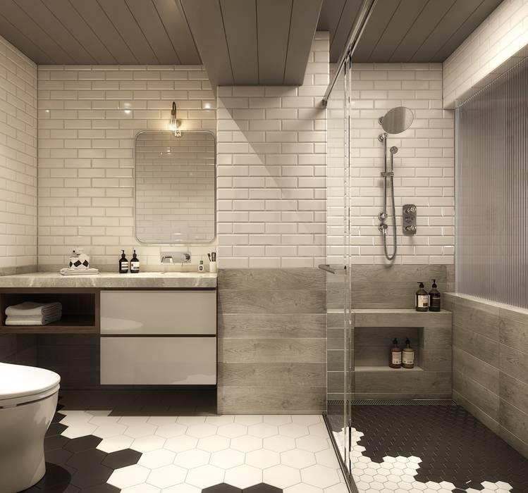 百玥空間設計 ─ 微醺 現代浴室設計點子、靈感&圖片 根據 百玥空間設計 現代風 磁磚