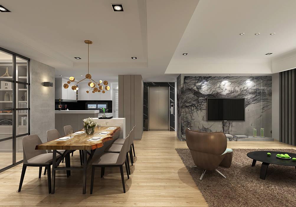 百玥空間設計 Living room Marble White