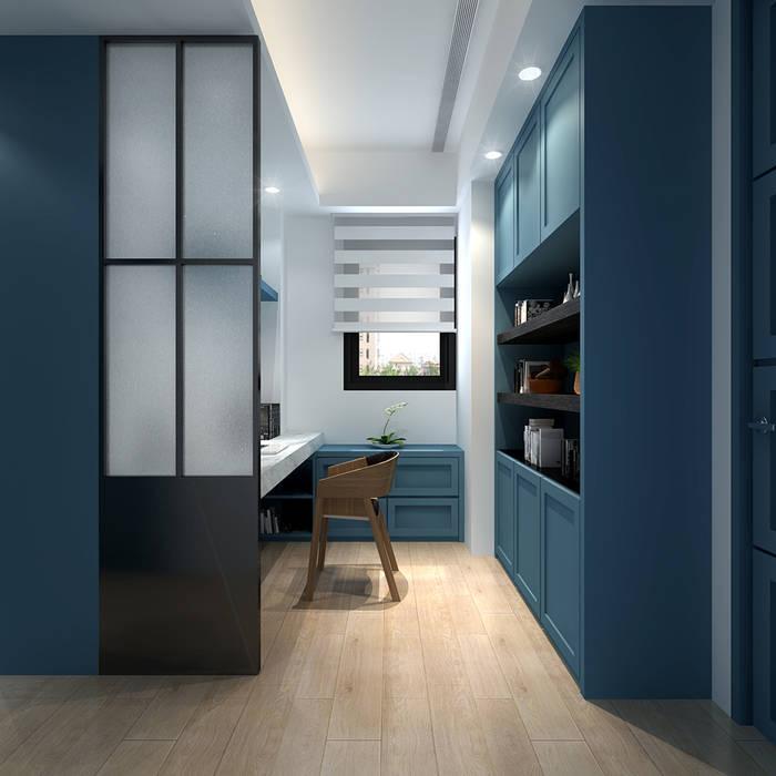 百玥空間設計 Modern style study/office Plywood Blue