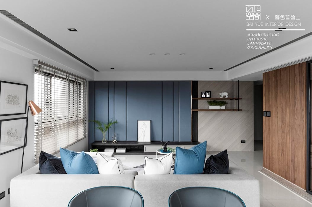 Salas / recibidores de estilo  por 百玥空間設計, Ecléctico Concreto
