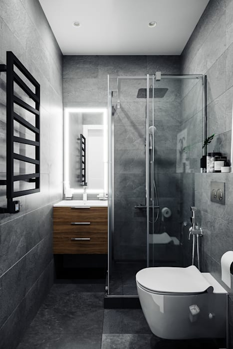 Minimalist style bathrooms by Студия архитектуры и дизайна Дарьи Ельниковой Minimalist