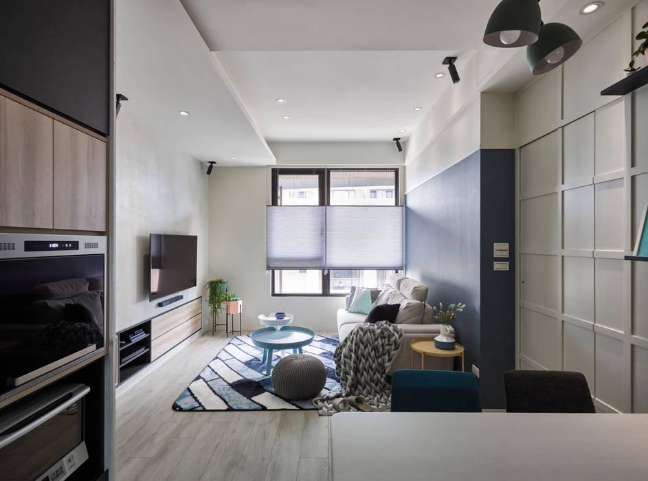 淺灰藍格:  地板 by 耀昀創意設計有限公司/Alfonso Ideas, 北歐風