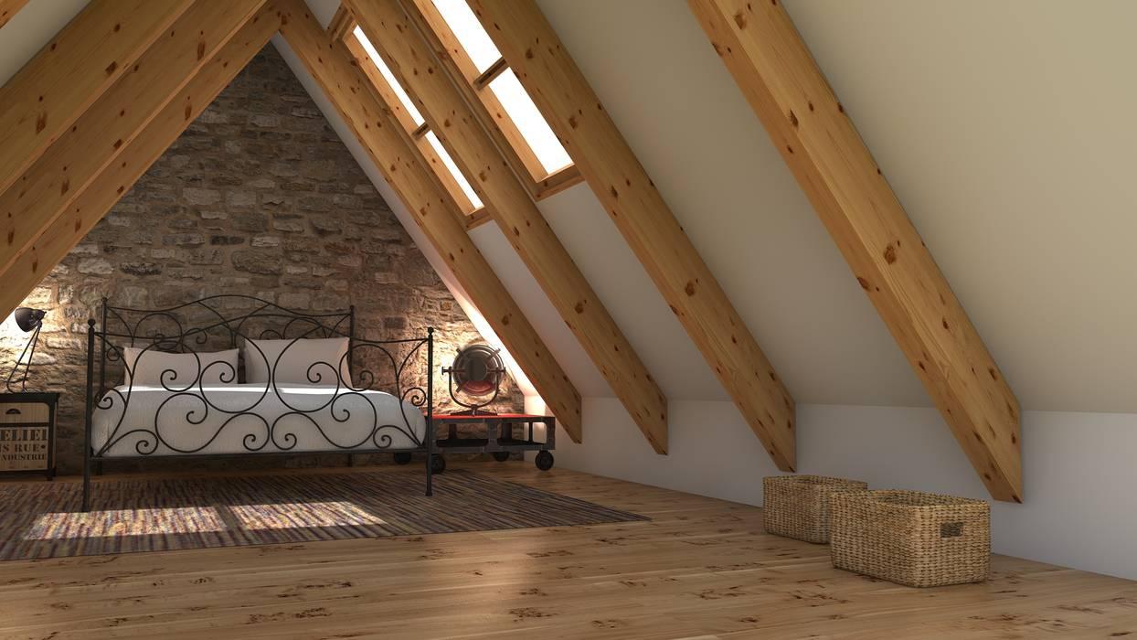 Garrets, sloping ceilings: Dormitorios de estilo  de Blophome, Rústico