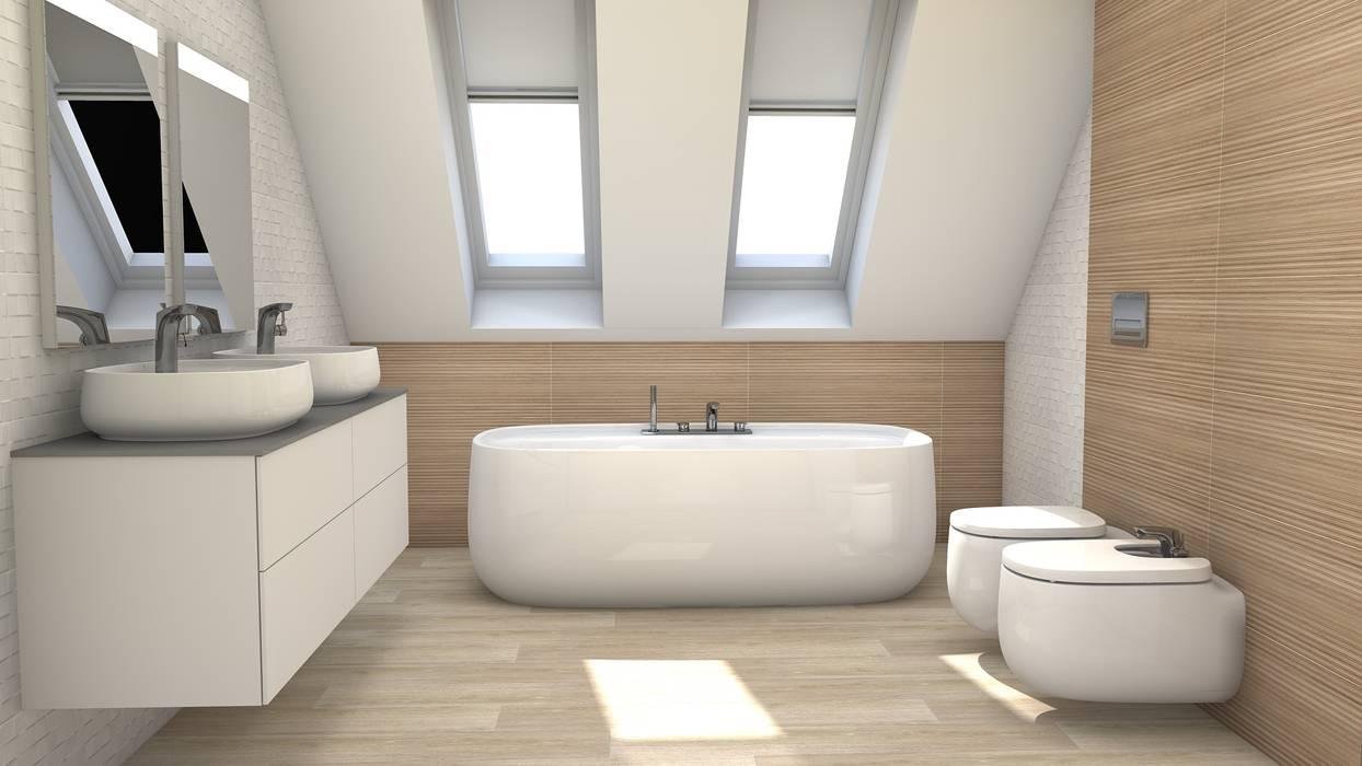 Garrets, sloping ceilings: Baños de estilo  de Blophome