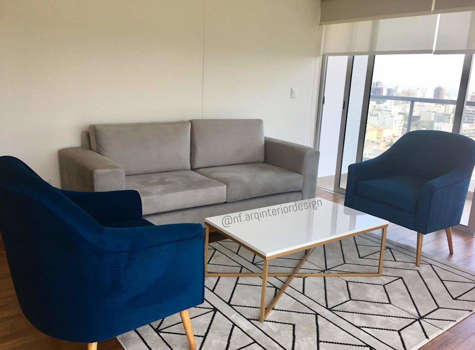 Implementación Sala : Salas / recibidores de estilo  por NF Diseño de Interiores