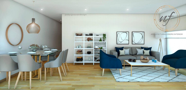 Propuesta Sala y Comedor Salas modernas de NF Diseño de Interiores Moderno