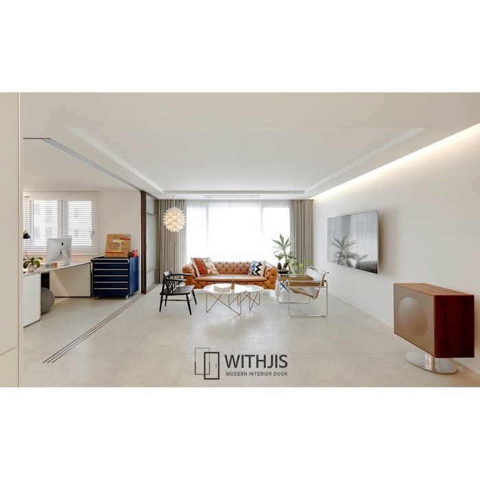 Modern living room by WITHJIS(위드지스) Modern Aluminium/Zinc