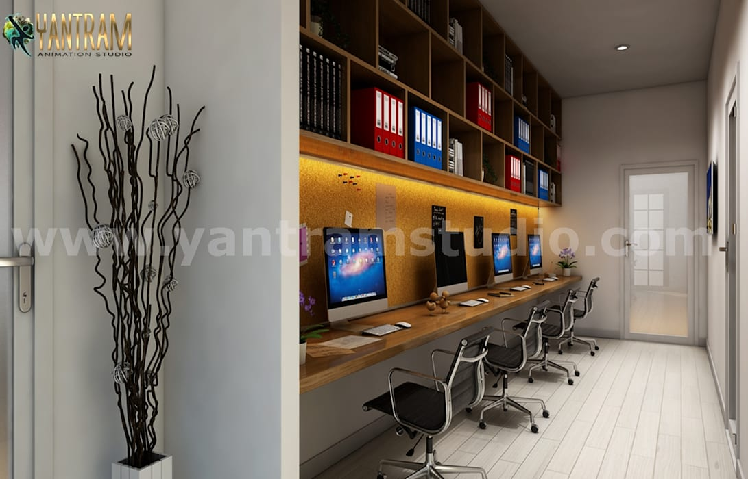 Modern computer lab with 3d interior rendering services by ...