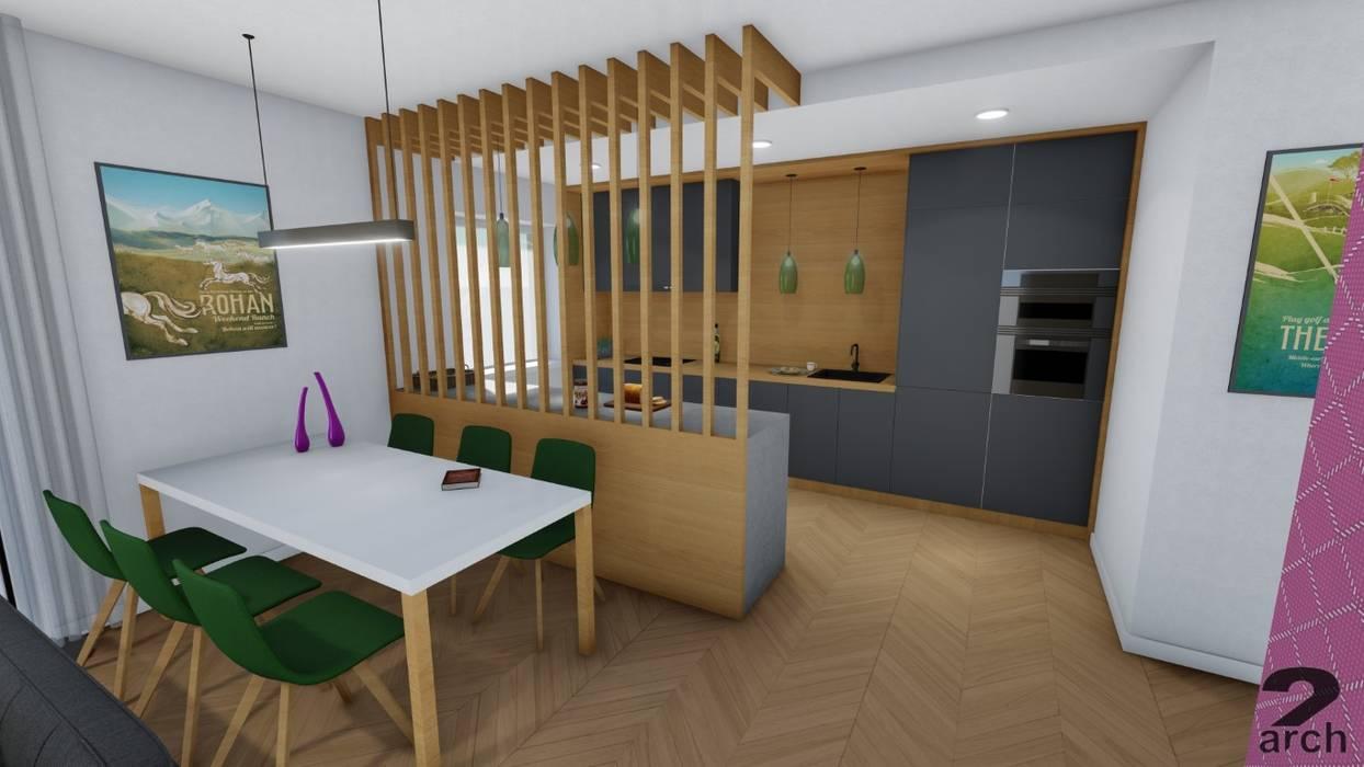 Wnętrza mieszkania pod Wrocławiem od 2arch architektura Nowoczesny Drewno O efekcie drewna