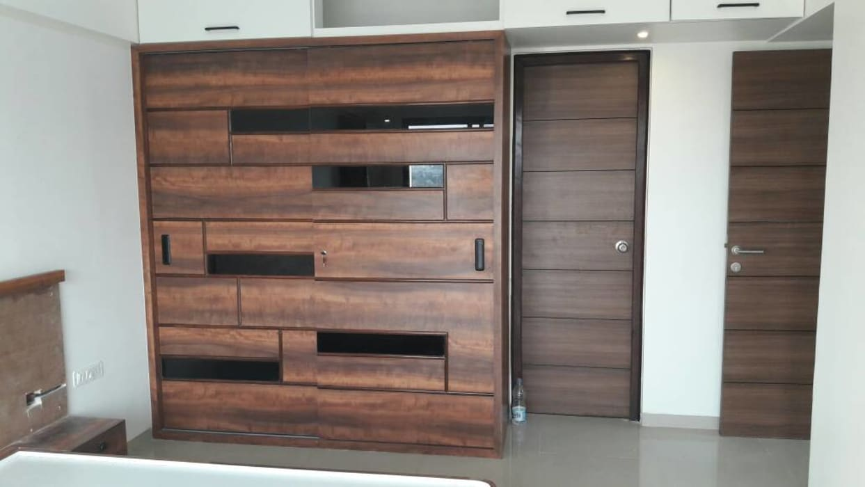 GLASS AND PLYWOOD SLIDING WARDROBE Asian style bedroom by decormyplace Asian Glass
