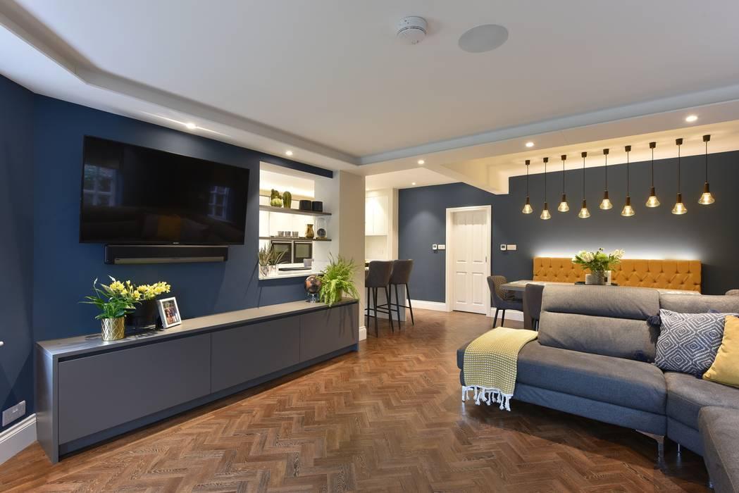 Mr & Mrs Tennant Diane Berry Kitchens Modern living room Engineered Wood Blue