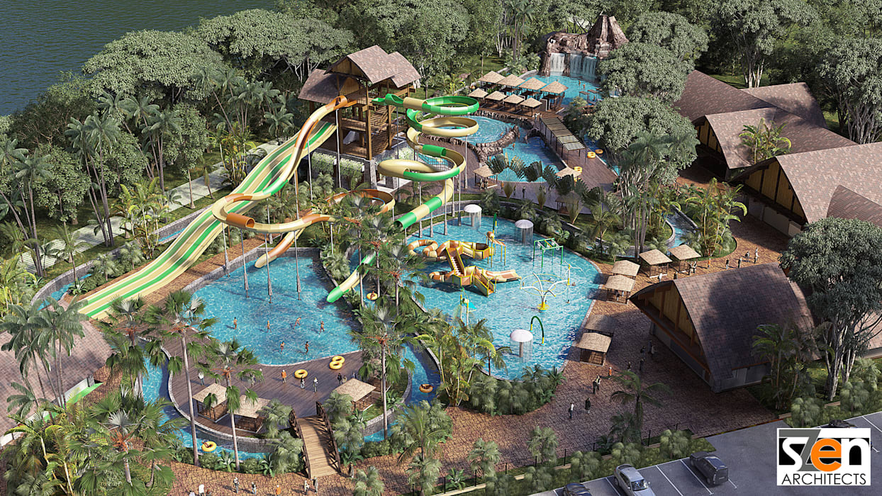 Aerial View of the Park:  Pool by SZEN Architects Sdn Bhd,