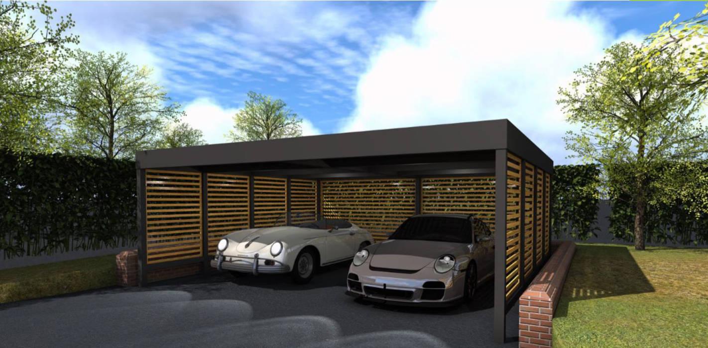 Double carport for Classic Car Enthusiast โดย wearemodern limited โมเดิร์น เหล็ก
