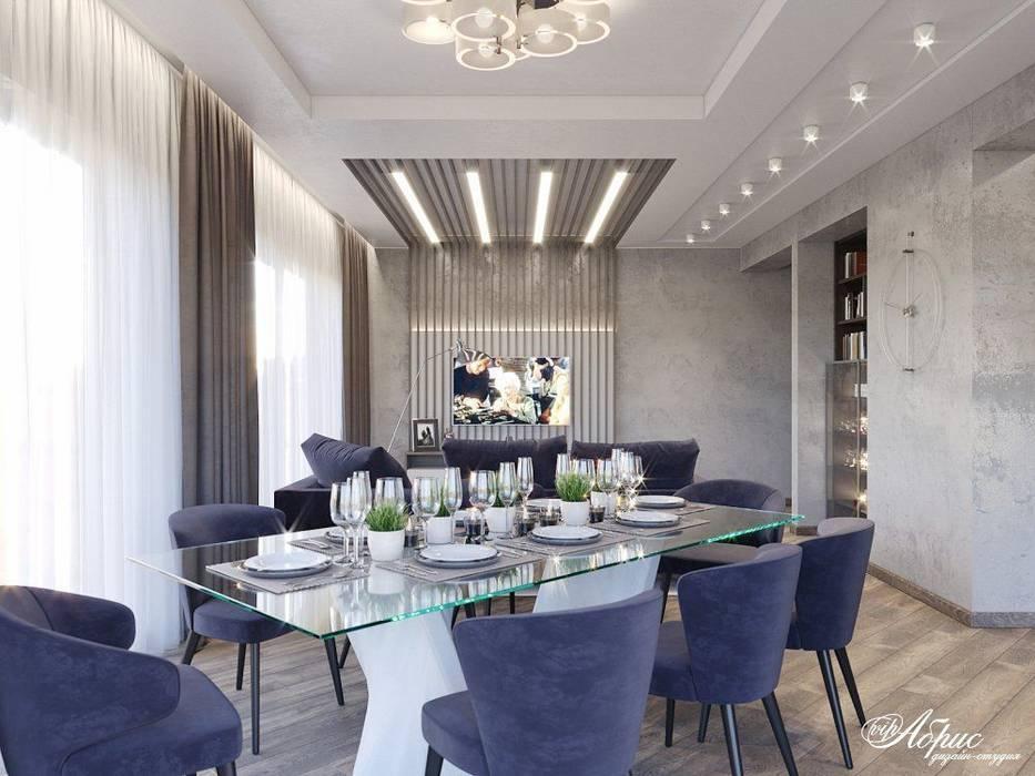 Дизайн кухни-гостиной в частном доме (д.Брусилово): Столовые комнаты в . Автор – Дизайн-студия 'Абрис', Минимализм