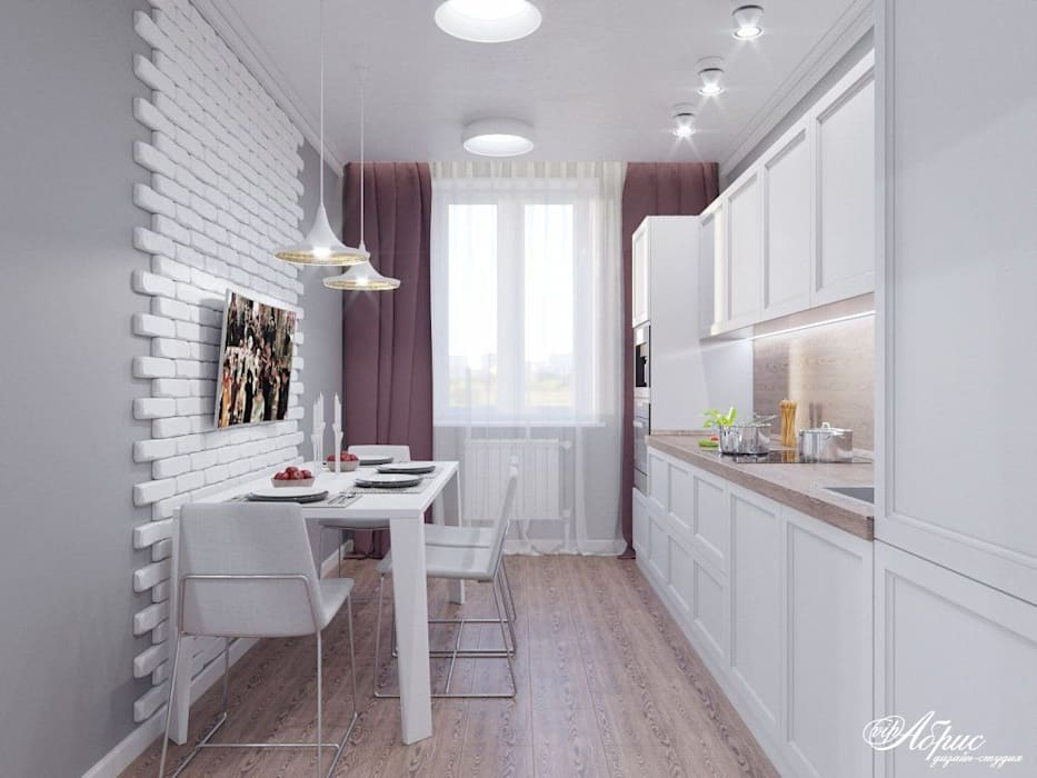 Дизайн двухкомнатной квартиры (пер.Смоленский): Кухни в . Автор – Дизайн-студия 'Абрис'