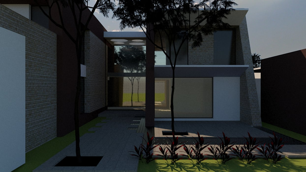 Acceso Peatonal: Casas unifamiliares de estilo  por diseño con estilo ... sas,