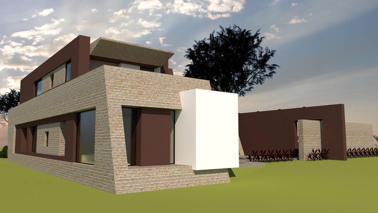 Zona Privada y Acceso Peatonal: Casas unifamiliares de estilo  por diseño con estilo ... sas