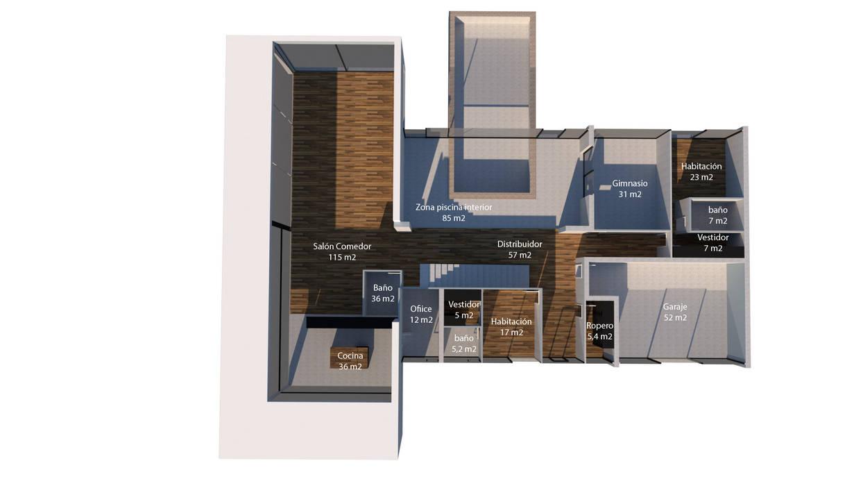 Casa de hormigón en Madrid modelo Marbella Plano 3D 1º planta:  de estilo  de Trenta Casas Prefabricadas de Hormigón en Madrid