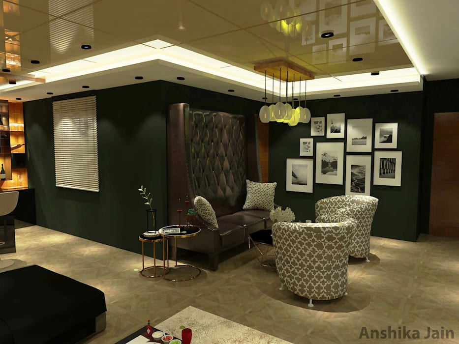 L-shaped Party Room : Bar Design:  Media room by Inaraa Designs
