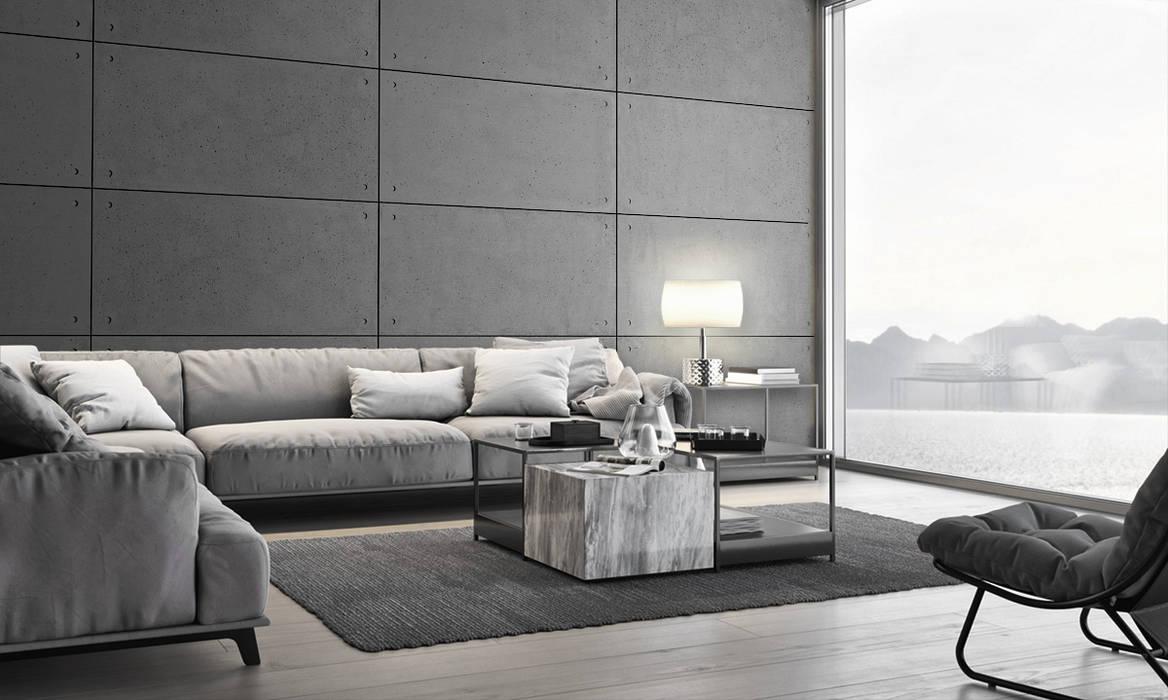 Wandplatten aus Architekturbeton STANDARD HOLLOW:  Wohnzimmer von Loft Design System Deutschland - Wandpaneele aus Bayern