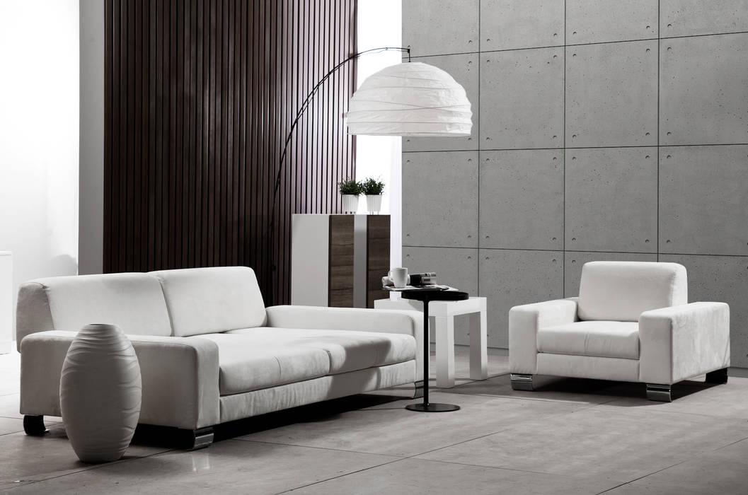 现代客厅設計點子、靈感 & 圖片 根據 Loft Design System Deutschland - Wandpaneele aus Bayern 現代風 水泥