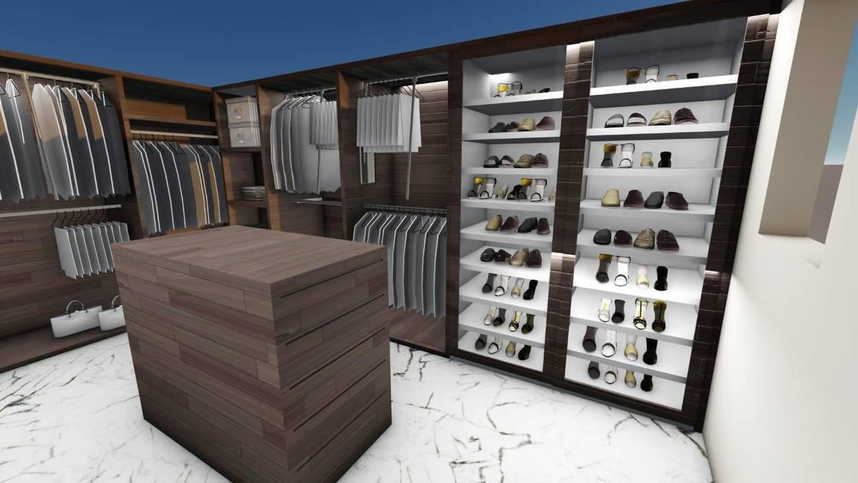 Render Vestidor: Vestidores y closets de estilo  por Punto D, Moderno Derivados de madera Transparente