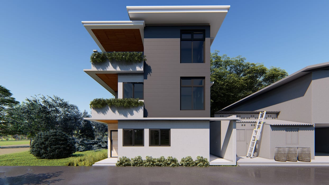 Front view of the house:  Single family home by Studio Each, Modern Concrete