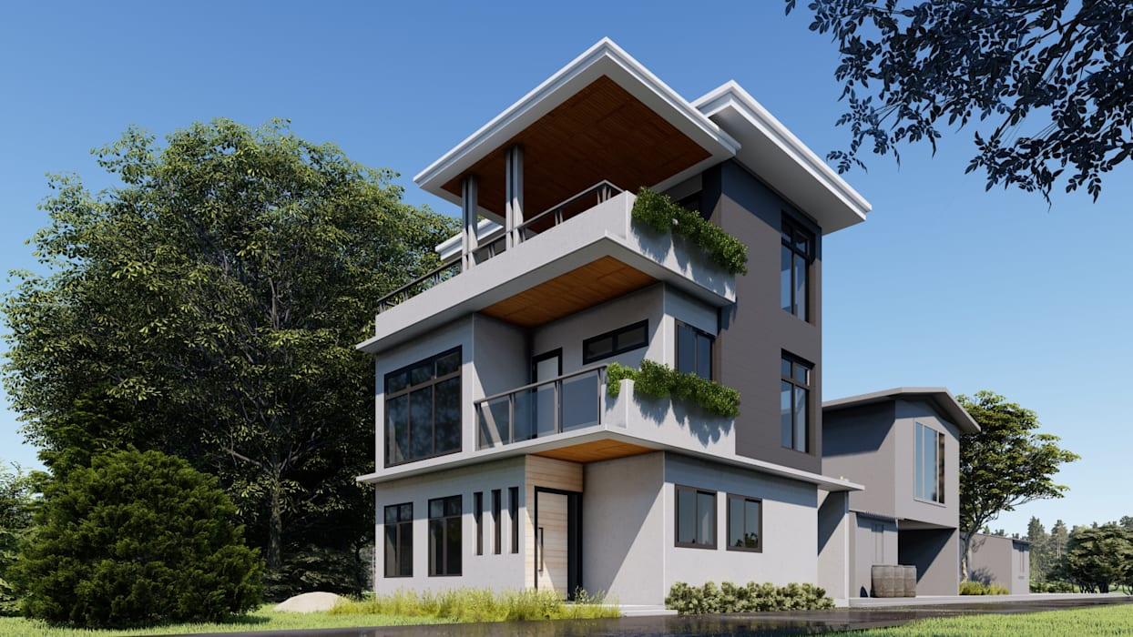 Elevation viewing the City:  Single family home by Studio Each,