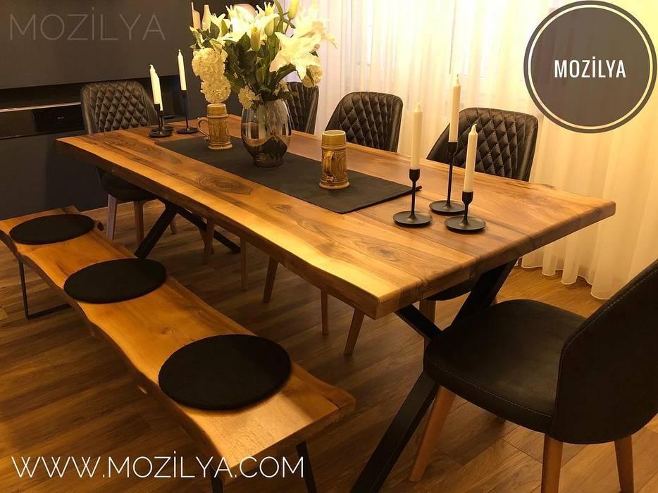 Mozilya Mobilya – Alaca Ceviz Ağacı Doğal Ahşap Masa:  tarz Yemek Odası