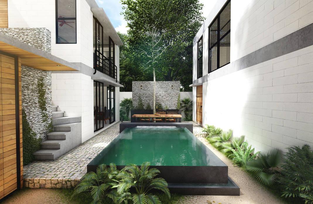 Infinity pool von Indigo Diseño y Arquitectura, Tropisch Beton