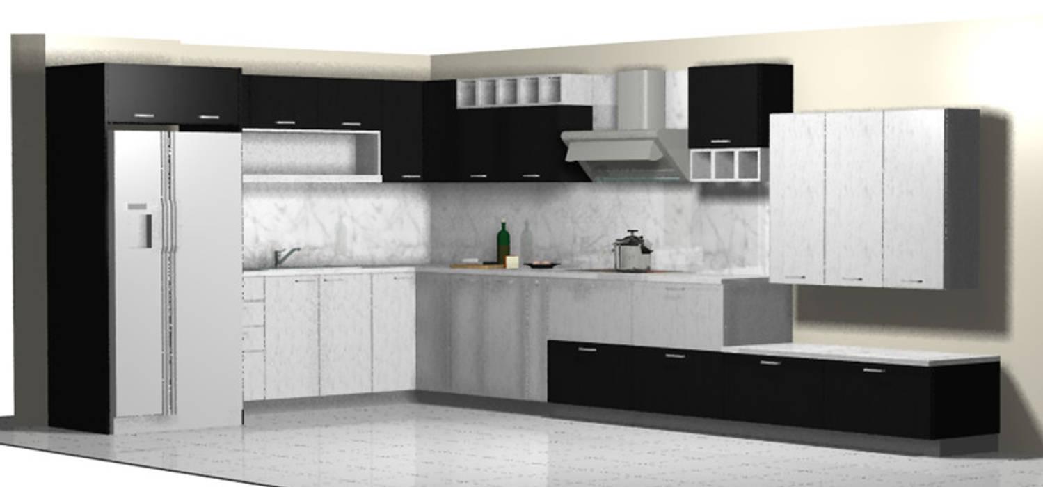 Cocina Blanco y Negro de Imprearte spa Minimalista Madera Acabado en madera