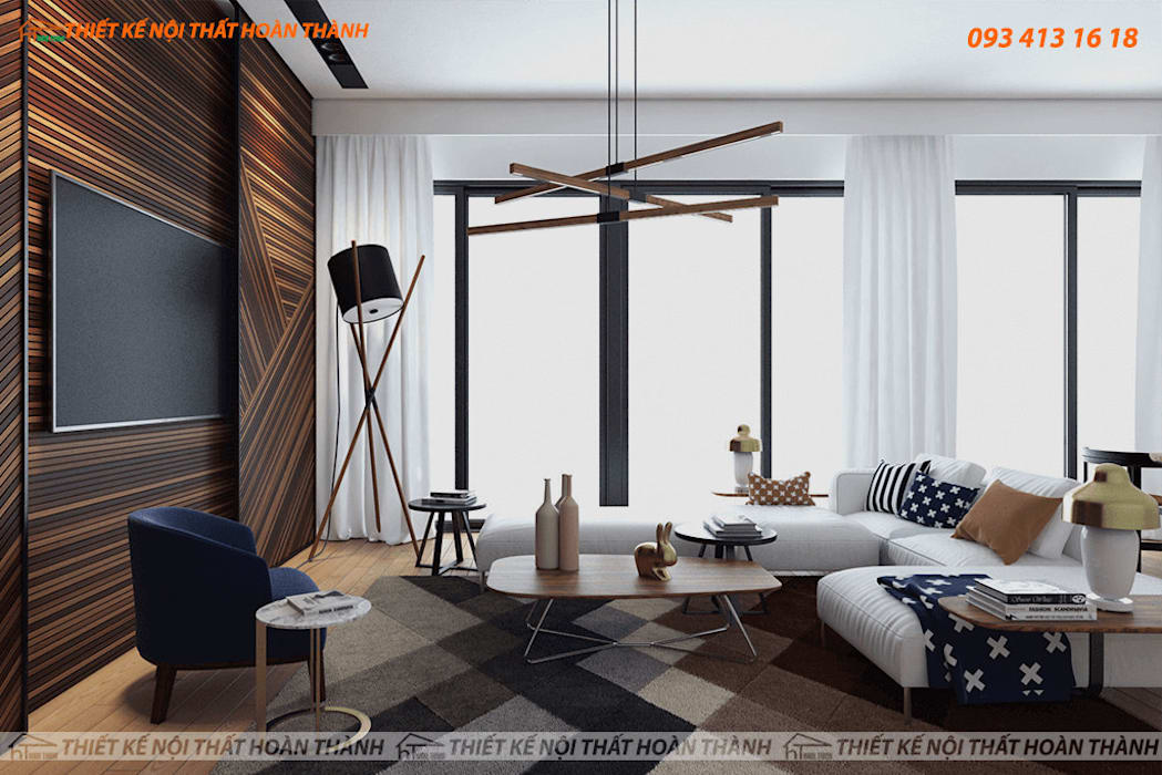:  Living room by Hoàn Thành Group, Modern