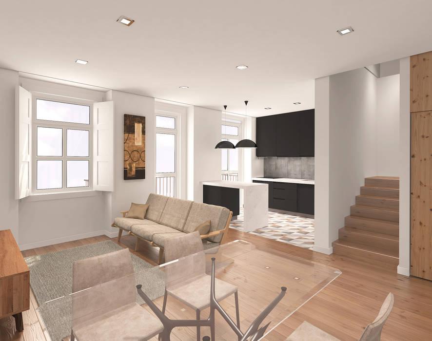 Sala de estar e cozinha moderna e funcional: Salas de estar  por Lisbon Heritage