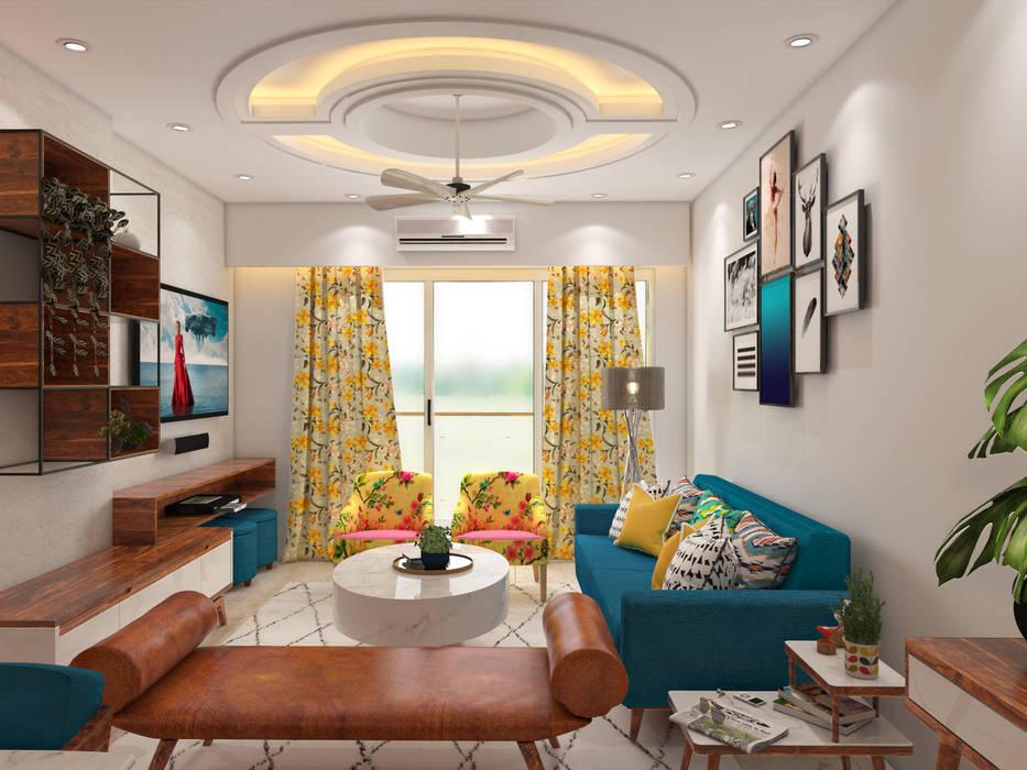 Salones de estilo moderno de Paimaish Moderno Madera maciza Multicolor