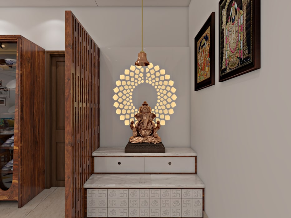Mandir Unit Modern dining room by The Cobblestone Studio Modern Wood Wood effect
