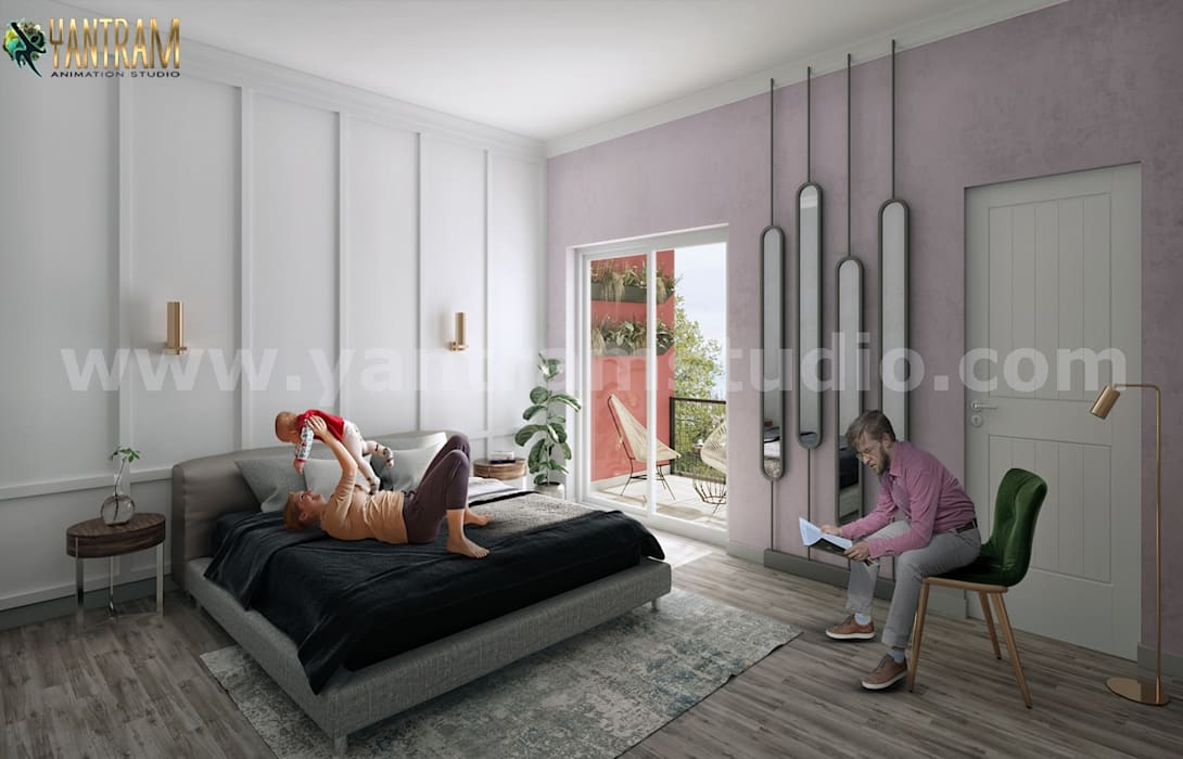 Modern Master Bedroom Ideas Of 3d Interior Rendering Services By Architectural Modeling Firm Paris France Yantram Architectural Design Studio Modern Style Bedroom Bricks White Homify