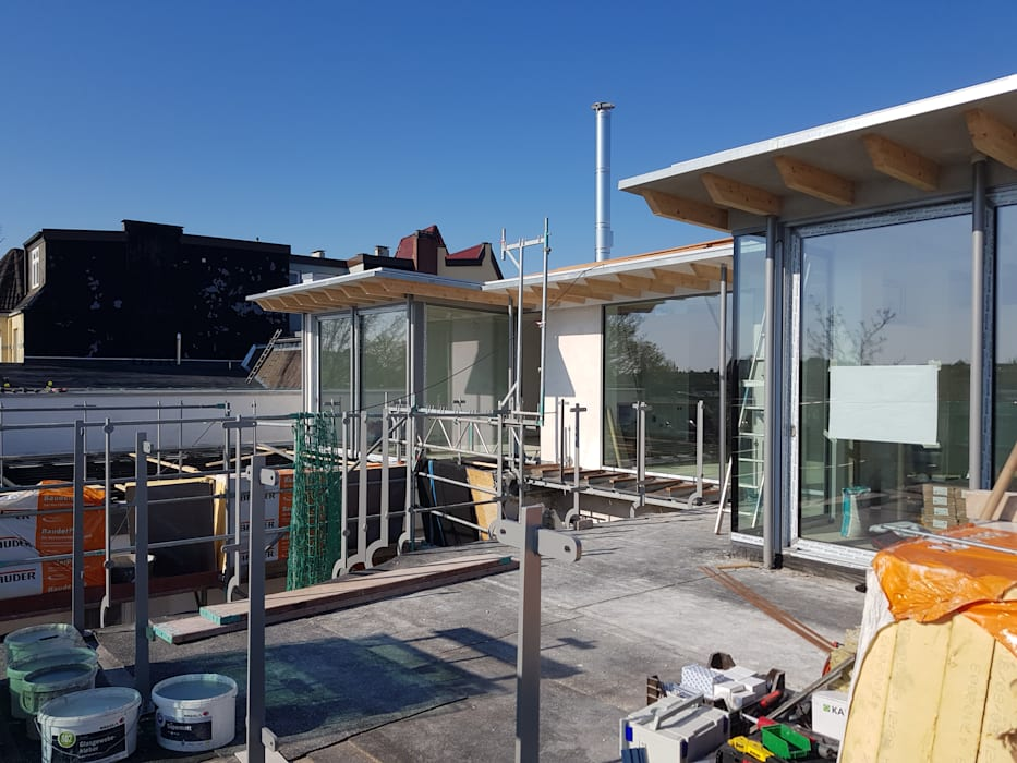 Aufstockung eines Dachgeschosses in Hamburg Eppendorf:  Dach von Zimmerei Nehls