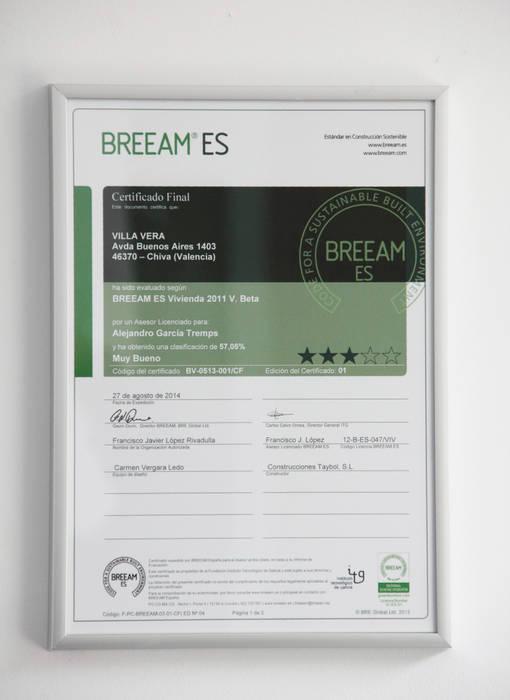 Certificado de Sostenibilidad BREEAM de Villa Vera:  de estilo  de Estudio1403, COOP.V. Arquitectos en Valencia, Moderno