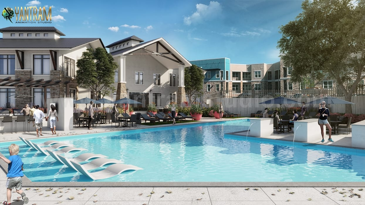 Exterior Backyard Pool View of 3D Architectural Visualisation by Architectural Animation Services, Canada - Toronto by Yantram Architectural Design Studio 클래식 벽돌