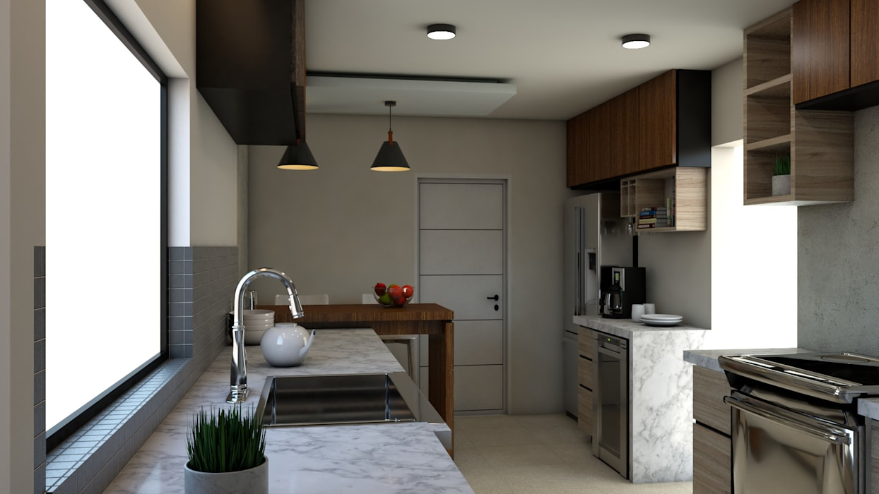 Remodelación de Cocina.: Cocinas pequeñas de estilo  por Miguel Mayorga, Moderno