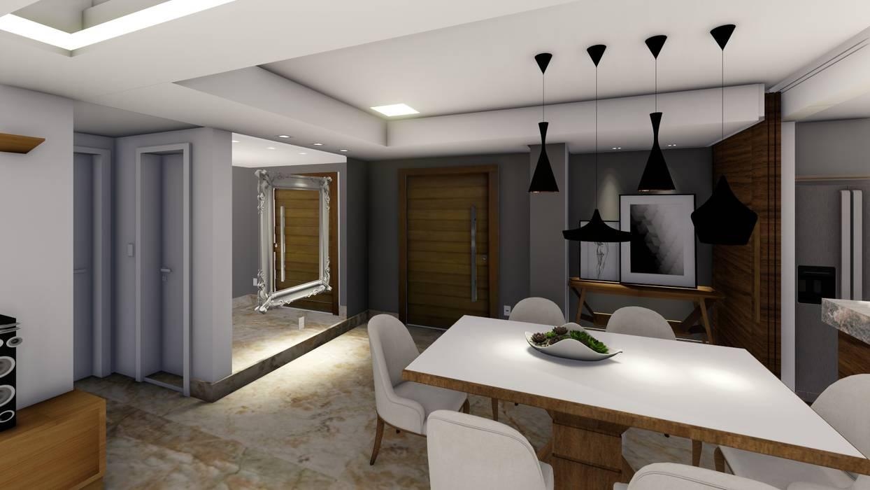 Sala de de Jantar e Estar: Salas de jantar  por Joana Rezende Arquitetura e Arte