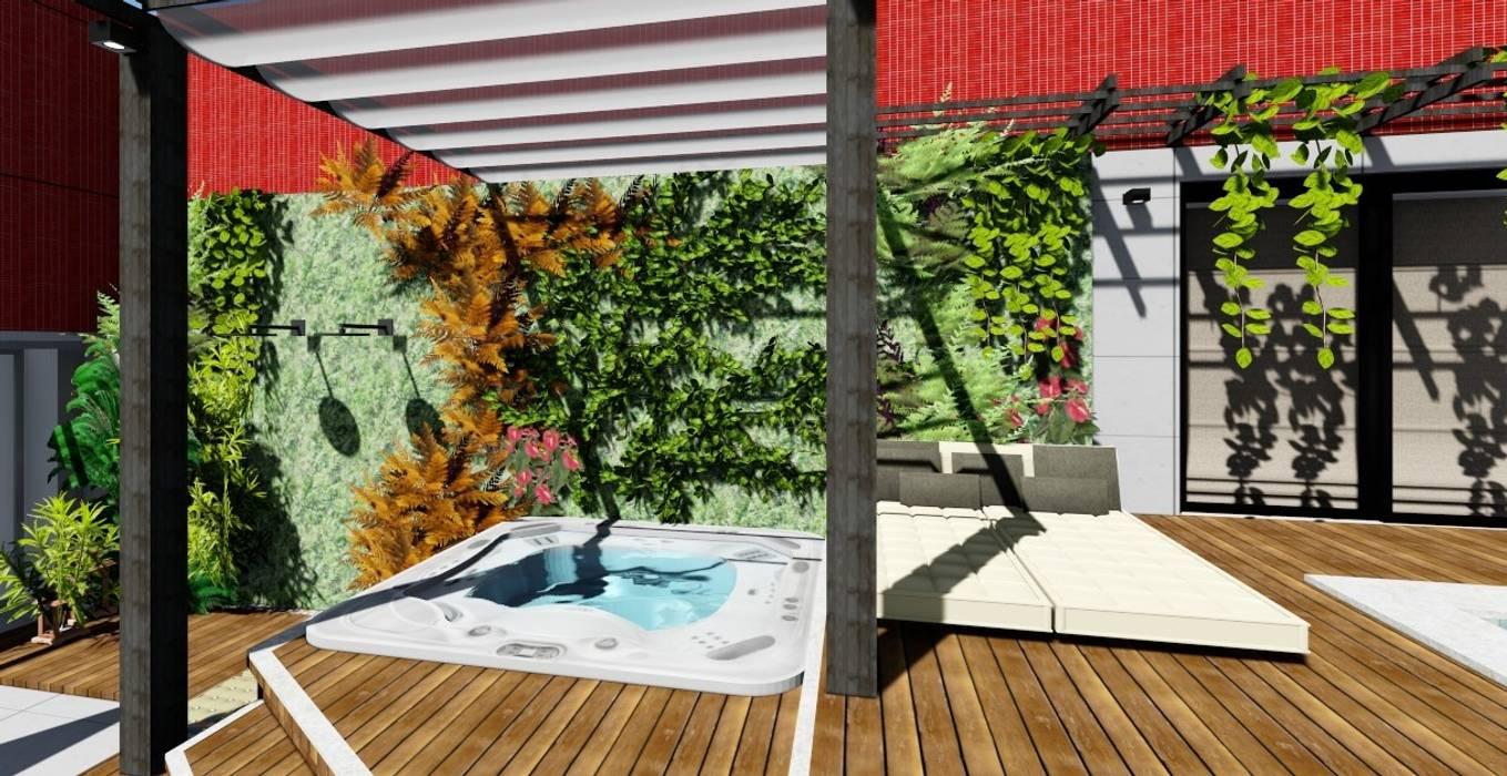 Banheira de Hidromassagem no terraço: Terraços  por Joana Rezende Arquitetura e Arte