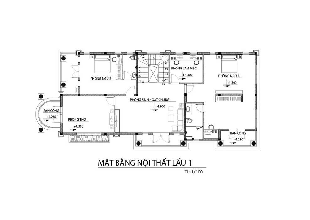 Mặt bằng nhà phố lầu 1 bởi TNHH xây dựng và thiết kế nội thất AN PHÚ CONs 0911.120.739 Hiện đại MDF