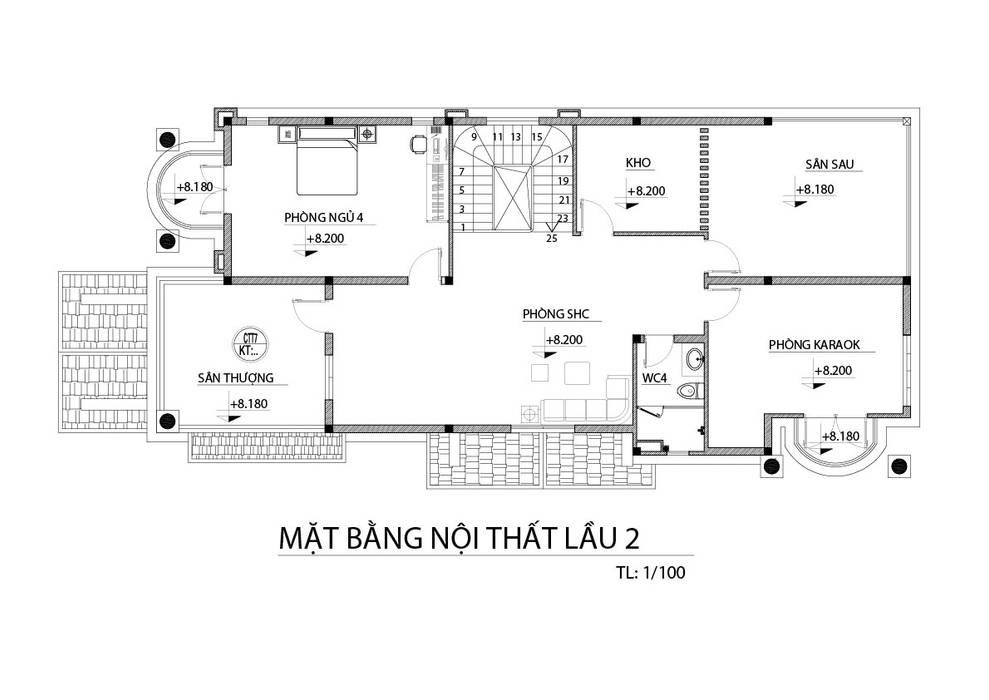 Mặt bằng lầu 2 bởi TNHH xây dựng và thiết kế nội thất AN PHÚ CONs 0911.120.739 Hiện đại MDF
