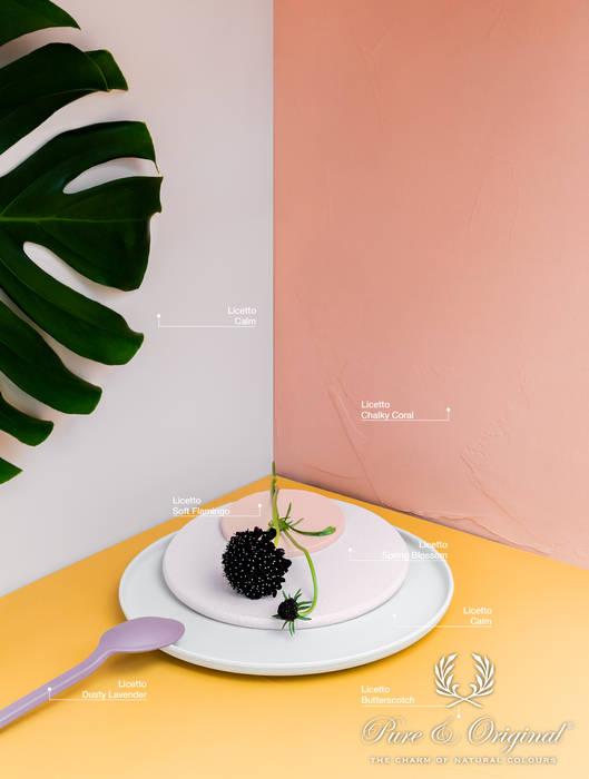 Kleurencombinatie van grijs met stoer roze, fris wit, geel en een paars accent:  Muren & vloeren door Pure & Original