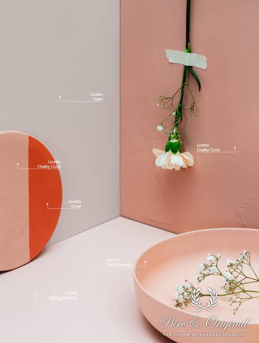 Toon in toon roze schakeringen met koraal rood accent:  Muren & vloeren door Pure & Original