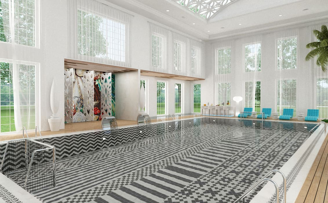 Pool Area - 2 / Club House โดย Sia Moore Archıtecture Interıor Desıgn ผสมผสาน เซรามิค