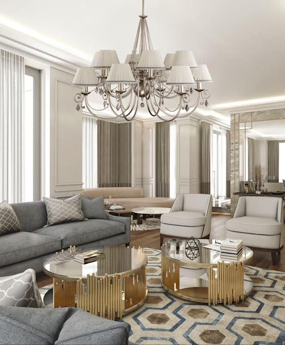 Brass Luxury Chandelier 12 Arms COCO Fabric Shade with Swarovski Crystals Double Tier: classic  by Luxury Chandelier, Classic Copper/Bronze/Brass